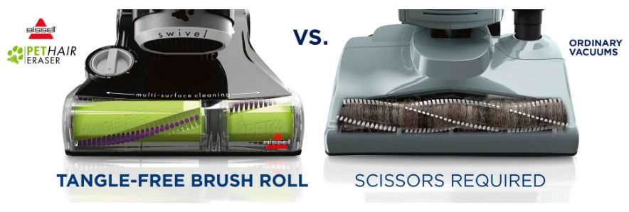 Bissell Pet Hair Eraser 1650A Upright Vacuum Review - Bissell 1650A Review - Bissell 1650A Pet Hair Eraser Review - Tangle-free Brushroll