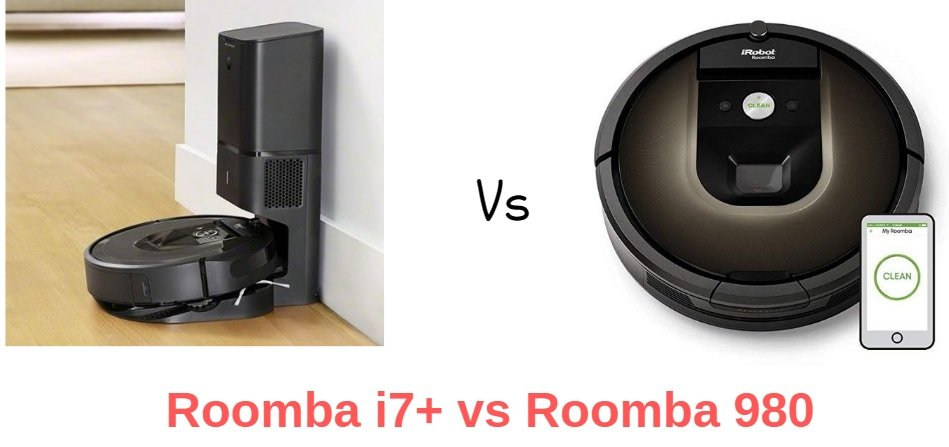 iRobot Roomba 980 vs i7+ - iRobot Roomba i7+ vs 980 Infographic